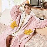 FVBNH 2020 Pijamas de Invierno Daisy Duck camisón de Manga Larga Otoño e Invierno Mujer Pareja Hombre Su Algodón Franela Acolchado Ocio Tops Rosa
