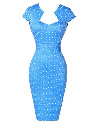 GRACE KARIN 50s Retro Vintage Kleid Damen Pencil Kleid Kurzarm keid Partykleid 4XL CL7597-4