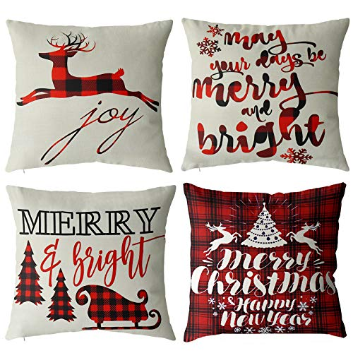 TGOOD Christmas Decorations Christmas Pillow Covers 18x18 Set of 4 Black and Red Buffalo Plaid Throw Pillow Covers for Home Farmhouse Holiday