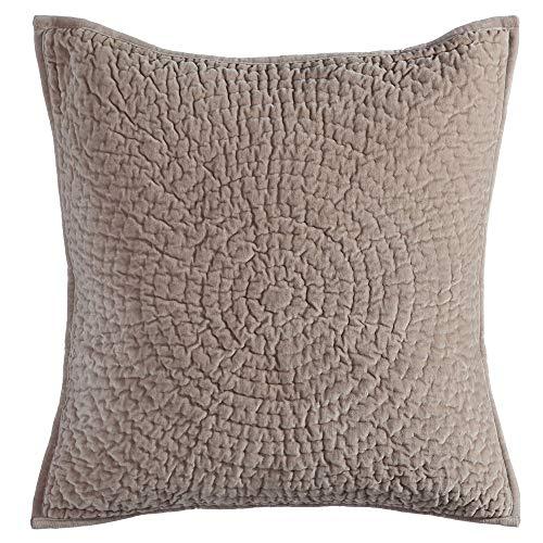 Ldk Garden Cojín drapeado Hecho a Mano Gris de Terciopelo de algodón de 60x60 cm - LOLAhome