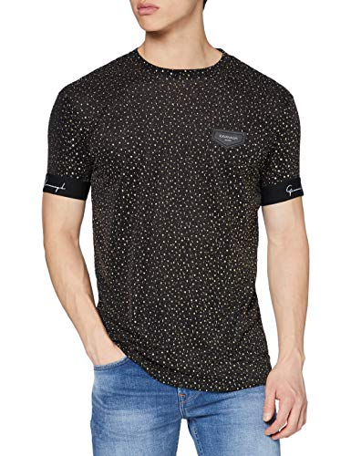 Gianni Kavanagh Black&Gold Upscale tee Camiseta, Negro/Dorado, L Hombre