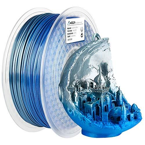 AMOLEN PLA 3D Printer Filament, Silk PLA Filament 1.75mm, Silk Silver...