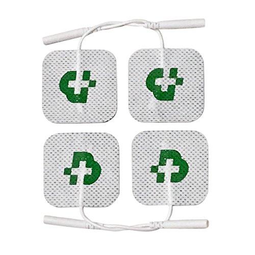 4 elettrodi adesivi per elettrostimolatore mm. 50x50, universali, adatti a tutte le marche di elettrostimolatori con cavetti a spinotto da 2 mm, lavabili, non necessitano di gel, attaccano sempre