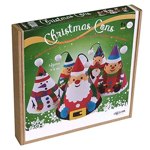 Arenart   Pack 5 Conos Árbol de Navidad   para Pintar con Arenas de Colores   Manualidades Infantiles   Decoración Navideña en Familia   +6 años