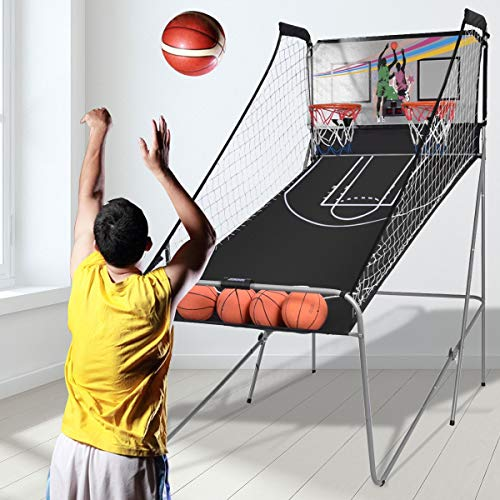 Sporting Goods Sports Athletics Hoop Backboards Indoor Double Shot Black Silver Electronic Basketball 8 Fun Game Play Option with 4 Balls Foldable Durable Iron Frame Digital Score Show Arcade Sound