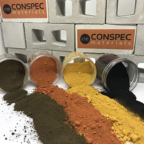 Conspec 8-oz. Mixed Colors Powdered Color for Concrete, Cement, Mortar, Grout, Plaster Brown, DEEP Black, Yellow, Terracotta, Colorant, Pigment
