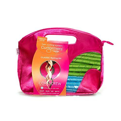 Curlformers - Lockenstyling-Set für Korkenzieherlocken - für mittellanges Haar bis zu einer Länge von 35 cm - ohne Hitze - mit 40 Lockenwicklern und 2 Stylinghaken