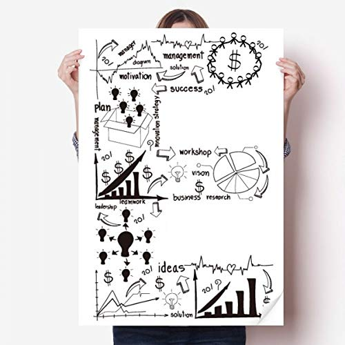DIYthinker Travail Simple Courbe Brainstorm données Illustration Vinyle Autocollant de Mur Poster Mural Wallpaper Chambre Decal 80X55Cm 80Cm X 55Cm Multicolor