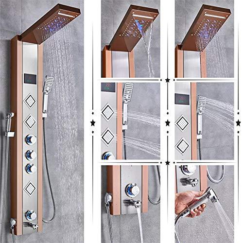 Robinet de douche de luxe LED panneau de douche colonne mitigeur de baignoire avec écran de température de douche à main-Or rose