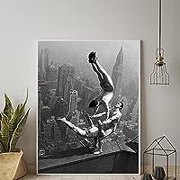 オリンピックメンズ体操ポスターキャンバスウォールアート白黒プリント画像北欧のリビングルームホームオフィス壁の装飾/ 50x70cm(フレームなし)