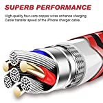 YEFOOT iPhone Charger 5Pack[6/6/6/6/6FT] [MFi Certified] Nylon Braided Fast Compatible iPhone 12Pro/12/11Pro Max and More-Black and Red