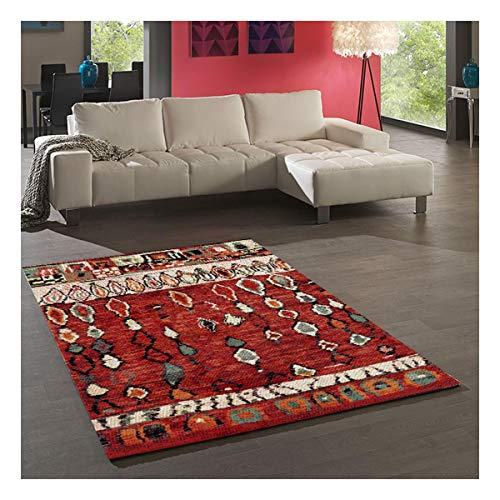 UN AMOUR DE TAPIS 80x150 Tapis Salon Moderne Design Scandinave - Tapis Berbere Ethnique Poils Ras Turquoise - Petit Tapis Salon Rectangulaire - Tapis Salon Rouge