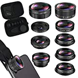 iPhone Lens Kit, Phone Camera Lens for Andriod, Smartphone Video Lens Lentes del Telefono for iPhone Xr, 7 Plus, 8 Plus, Xs max, Samsung. Macro+Telephoto Zoom+Fisheye+Wide Angle 9-in-1 Lens