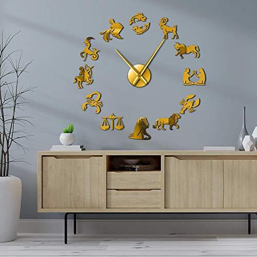 KKLLHSH 3D Relojes de Pared Espejo Pegatina Reloj de Etiqueta de Pared,Animal Espejo Grande 3D Sticker Decoración-47 Inch