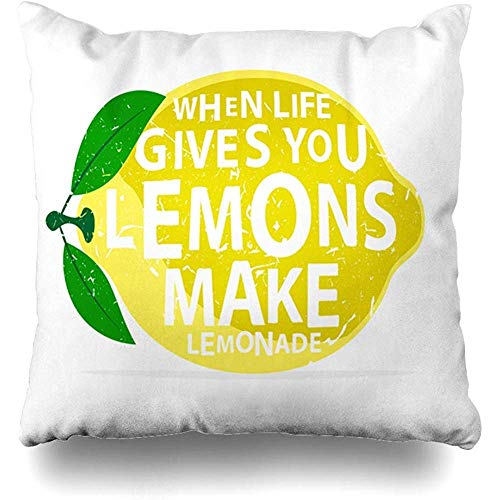 Throw Pillow Case 45x45 cm When Life Gives Decoration You Lemonade Lemons Make Textures Creative Food Quote Lemon Give Drink Cushion Cover