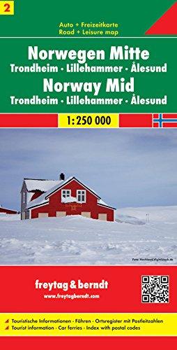 Centro de Noruega, Trondheim, Lillehammer, Alesund mapa de carreteras. Escala 1:250.000. Freytag & Berndt.: Trondheim. Lillehammer. Alesund. ... mit Postleitzahlen: AK 0656 (Auto karte)