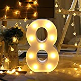 LED Decorativos Números Iluminados,0-9 Luminosas Decorativas con Luces LED,Números Arábigos para el Cumpleaños Fiesta de Bodas Decoración de la Barra Dormitorio Colgante de Pared (8)
