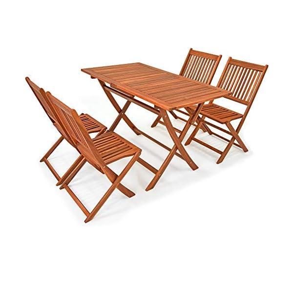 Deuba Sitzgruppe Sydney Light 4+1 FSC®-zertifiziertes Akazienholz 5-TLG Tisch klappbar Sitzgarnitur Holz Garten Set