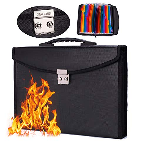 Fireproof Waterproof Document Bag 24 Pockets Expanding File Folder/Accordian File Organizer with Expandable Cover/Portable Lock Code A4 Letter Size File Box,Colored Paper Document Receipt Organizer