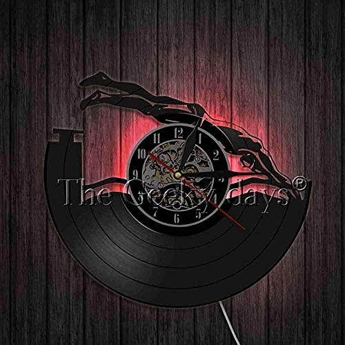 TJIAXU Natación Disco de Vinilo Reloj de Pared diseño Moderno Deportes Artista Colgante de Pared decoración del hogar Reloj de Pared Reloj de Pared 3D Reloj Regalo Hecho a Mano