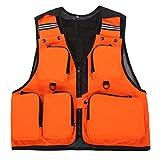 Dooxi Uomo All'aperto Traspirante Gilet da Pesca Fotografia Multi-Tasche Quick-Dry Gilet Arancia 2XL