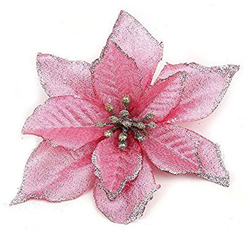 Zabrina 12 Pcs 5.11 in Christmas Tree Decorative Silk Flower Gold Poinsettia Bush and Red Poinsettia Bush Artificial Flowers Red Glitter Poinsettia Christmas Tree Ornaments (Pink)