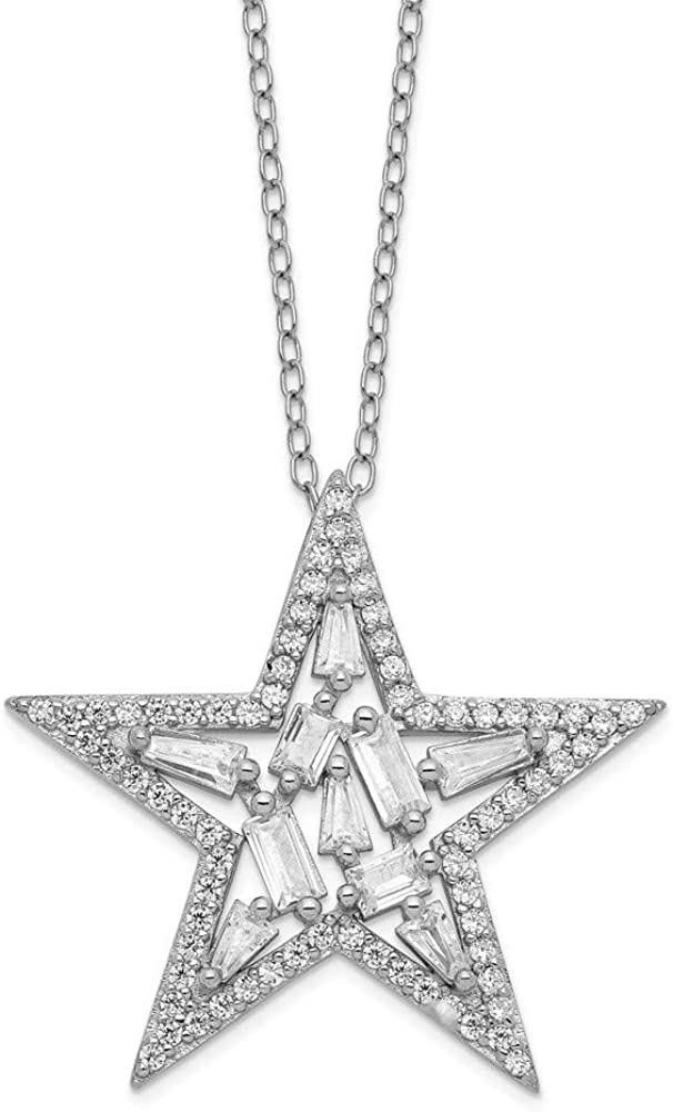 925 Sterling Max 56% All stores are sold OFF Silver Cubic Zirconia Necklac Cz Cluster Star Chain