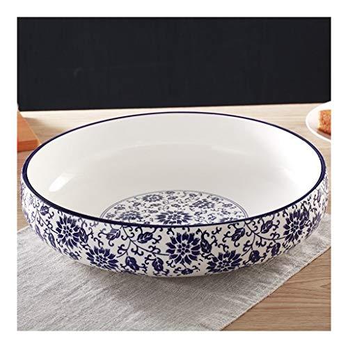 JiaHE115 Grote pop van blauw porselein, grote soepkom van keramiek, blauw en wit, vis in schep, soeppan, retro decoratie, hoteldecoratie