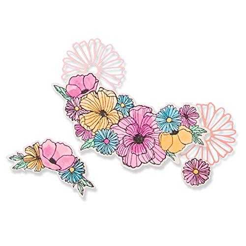 Sizzix Framelits Stanssjablonen 6 stuks met stempel 664355 krachtige bloemen, veelvoudig, één maat