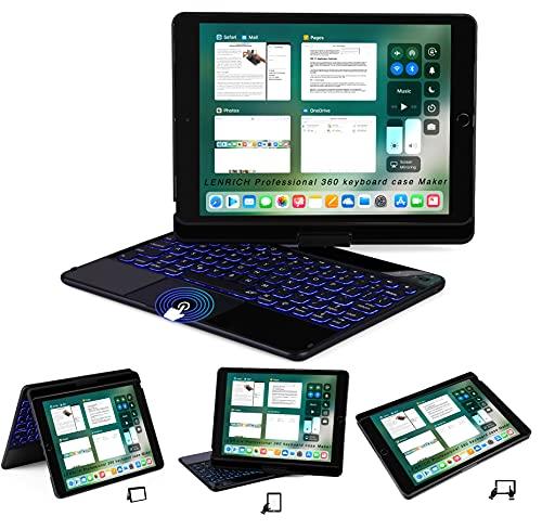 Capa com teclado para iPad LENRICH para iPad 10.2, Preto, iPad 10.2& iPad Air 10.5 iPad Pro, luz de fundo de 7 cores, rotação 360 sem fio Folio 180 Flip Capa inteligente giratória com suporte rígido para hibernar/despertar automática