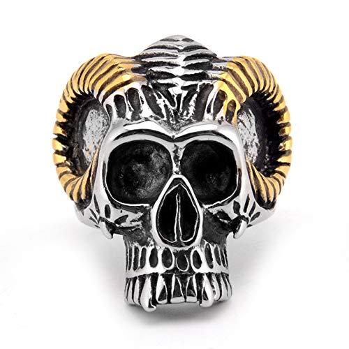 ZiFei Anillos, 316L Acero Inoxidable Cabeza de Cabra Cráneo Cool Punk Anillo Masculino Estilo de Personalidad Joyería,7