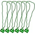Gift Boutique Happy St. Patrick's Day Necklaces With Shot Glass 6 Pack Metallic Green Irish Beer Mug Cup Bead Necklace For Kids Women Men For Games and Costumes Party Favor Supplies Accessories