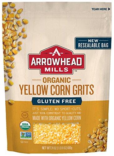 Arrowhead Mills Organic Yellow Corn Grits, Gluten Free, 24 Ounce Bag (Pack of 6)