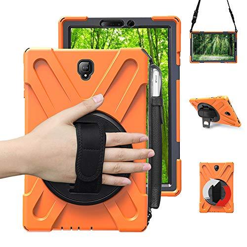 Junfire Schutzhülle für Samsung Galaxy Tab S4 T830/ T835/ T837(10,5 Zoll) 2018 Hülle,stoßfest and robust, 360 Grad drehbar, Standfunktion Hülle (mit Stifthalter, Orange mit Stifthalter)
