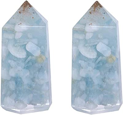 rockcloud Pack of 2 Healing Crystal Wand Point 6 Faceted Prism Reiki Chakra Stones for Meditation Therapy 2 inches, Aquamarine Crystal Stone