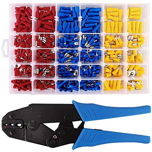 Crimpzange mit 500 tlg. Kabelschuhe, Quetschverbinder enthält Ring-Kabelschuhe, Rundstecker, Rundsteckhülsen, Flachstecker, Flachsteckhülsen, Gabelkabelschuhe und Stoßverbinder