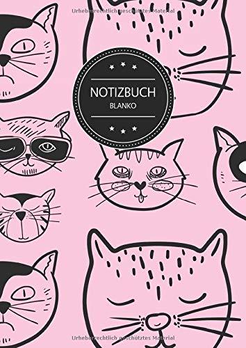 Notizbuch Blanko: Blanko Notizbuch A4 110 Seiten, Vintage Softcover, Weißes Papier - Dickes Notizheft, Skizzenbuch, Zeichenbuch, Blankobuch, Sketchbook; Motiv: Muster Katzen Katze Haustier Rosa