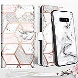 Shields Up Handyhülle für Galaxy S10 Plus Hülle,[abnehmbare] magnetische Schutzhülle,[Kartenfach],[Standfunktion] Schlaufe, [veganes Leder] für Samsung Galaxy S10 Plus Tasche - Marmor
