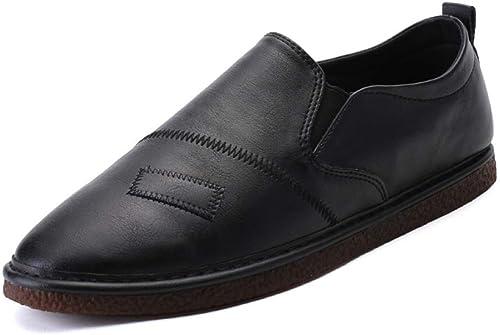 LYZGF Hommes Jeunes Loisirs Mode Ensembles De Pieds Bouche Peu Profonde Chaussures en Cuir