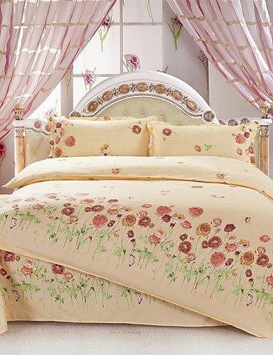 kiuytghnb amarillo flores de la Reina y de tamaño doble lijado ropa de cama conjuntos 4pcs para niños y niñas ropa de cama china edredón de venta al por mayor, poliéster, Amarillo, cama individual