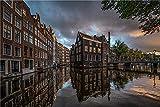 NA Puzzle Jigsaw 1000 Piezas Rompecabezas Juguetes Netherlands Amsterdam Houses Bridges Canal Rompecabezas Educativo para Niños