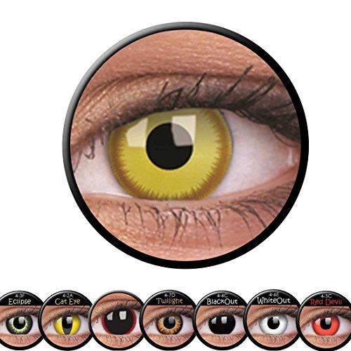 Amakando Gelbe Farblinsen mit braunem Rand Augenlinsen Motivlinsen Avatar Kontaktlinsen Effektlinsen