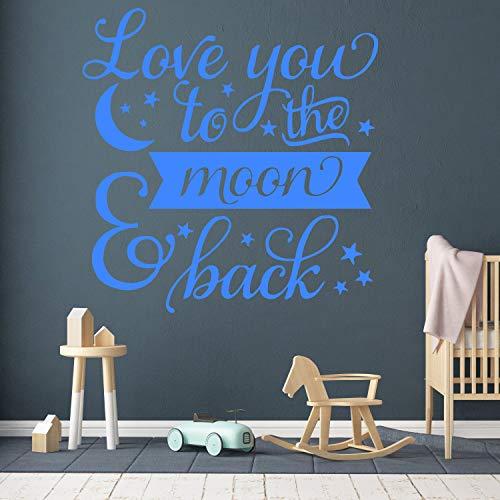 Dozili Autocollant pour chambre d'enfant avec citation « Love To the Moon and Back »