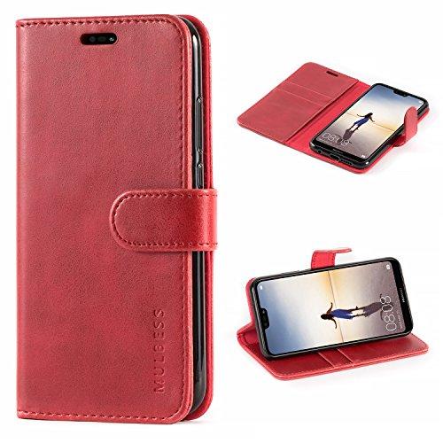 Mulbess Cover per Huawei P20 Lite, Custodia Pelle con Magnetica per Huawei P20 Lite [Vinatge Case], Vno Rosso