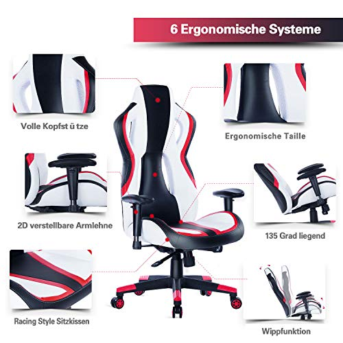 Wolmics Gaming Stuhl unter 150 Euro Rennstil PU-Leder Bild 2*