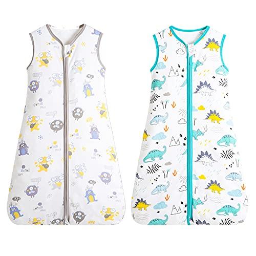 2 -Pack Sommerschlafsack Baby, Ohne Ärmel Dünner Baby Schlafsack mit Reißverschluss, Funktionsschlafsack Enthält Bio-Baumwolle für 12-24 Monate Baby (80-90cm) -Dinosaurier / Monster… (90)