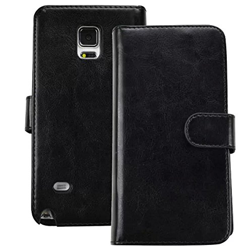 Galaxy Note 4 Case, Unique Wallet PU Leather Stand Case for Samsung Galaxy Note 4, Galaxy Note IV, 2014 with Card Slots and Wrist Strap, Black