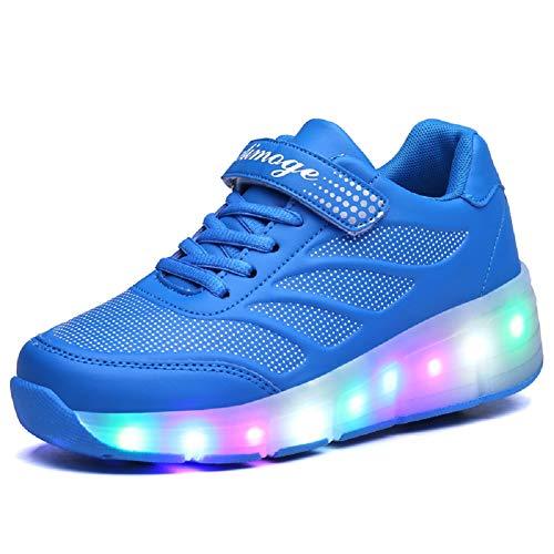 Axcer LED Blinkend Schuhe Mit Rollen Automatisch Funktion Räder Rochen Skateboardschuhe Sport Outdoor Fitnessschuhe 7 Farbwechsel Rädern Gymnastik Traillaufschuhe Sneakers für Jungen Mädchen