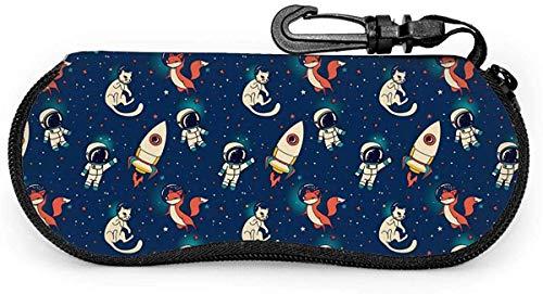 ドラゴン Rockets Foxes And Cats In Space Soft Sunglasses Case for Women Men Portable Neoprene Zipper Eyeglass Case