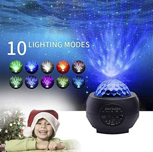 LED Sternprojektor Nachtlicht, BEEDLI Sternenlicht Projektor Rotierende Wasserwellen Projektionslampe Ferngesteuerte Nachtlichter Bluetooth Lautsprecher Sound Sensor, USB Fernbedienung